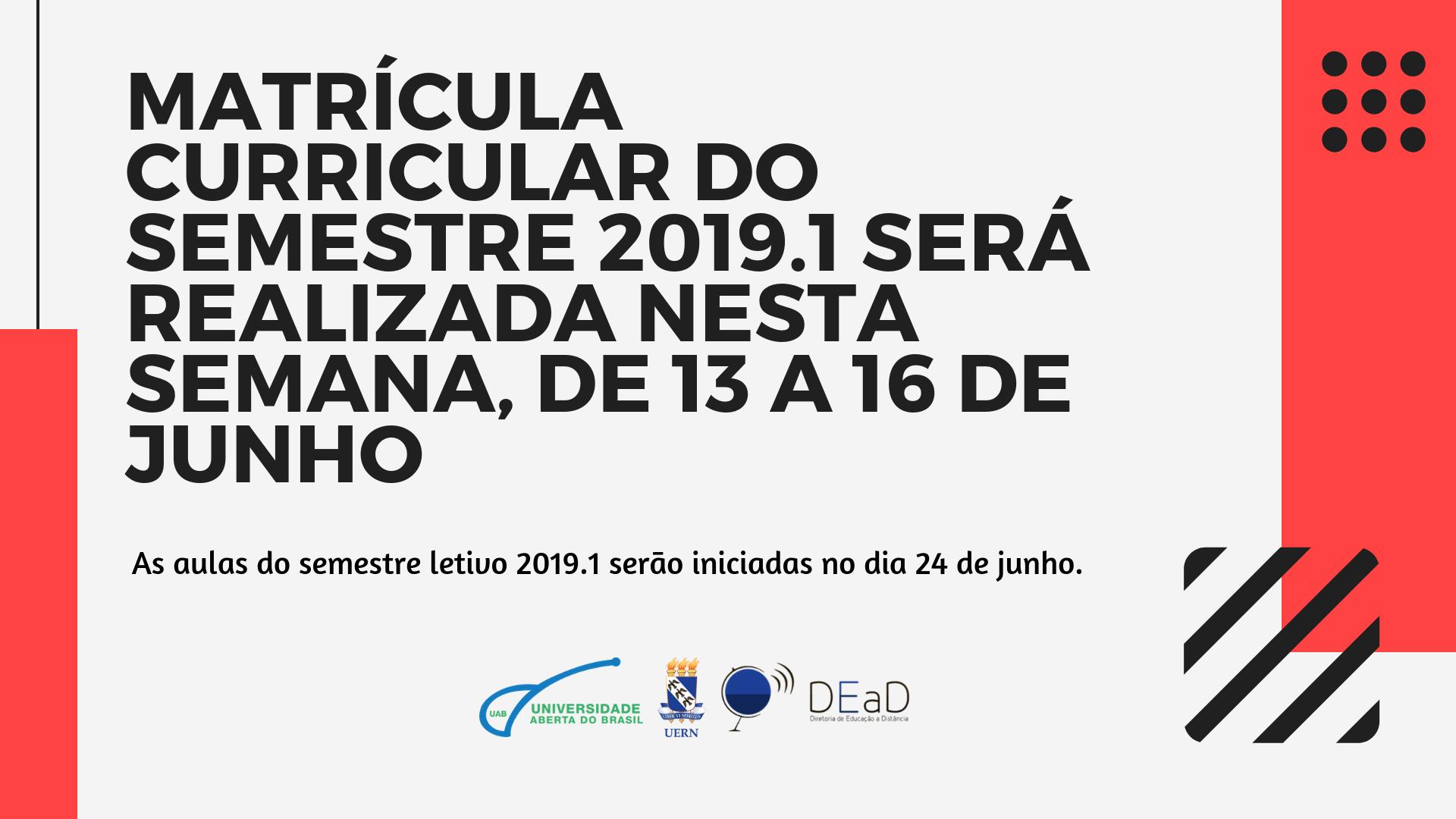 Matrícula curricular do semestre 2019.1 será realizada nesta semana, de 13 a 16 de junho